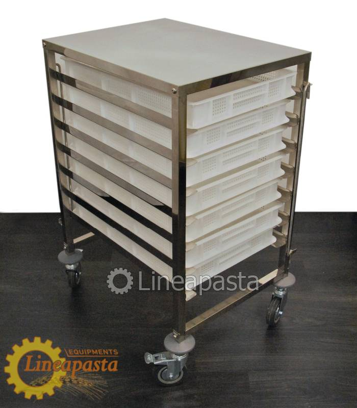 Stainless steel pasta trolley