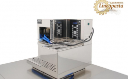 Counter-top electric pasta cooker station with suction hood and sauce warmers CS